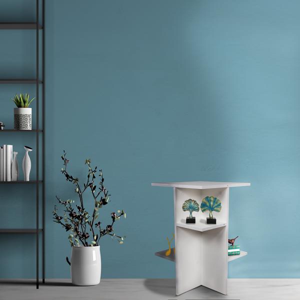 طاولة تخزين جانبية موديل نيرا لون أبيض مصنوعة من الخشب
