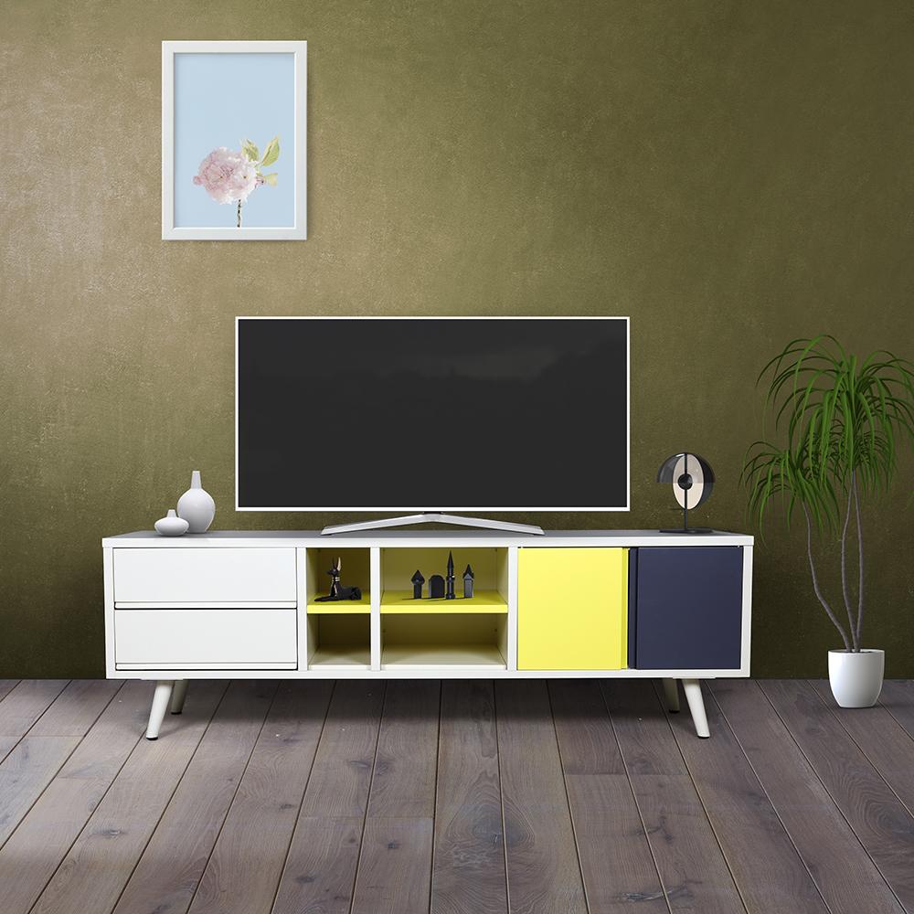 ديكور طاولة تلفاز لون بيج وأصفر ورمادي