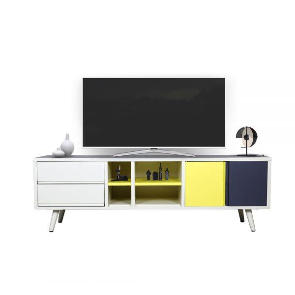 طاولة تلفاز موديل سترو بدرجين ووحدة تخزين ببابين صناعة معدنية