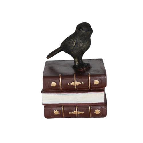 تحفة أنتيكة الطائر والكتاب لون بني للديكور المنزلي والمكتبي