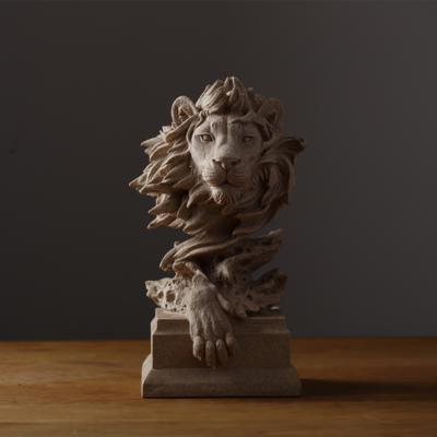 تحفة أسد الحجر الرملي للديكور المنزلي والمكتبي طراز أنتيكة لون بيج غامق
