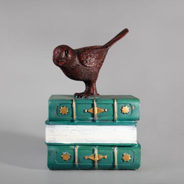 تحفة أنتيكة الطائر والكتاب لون أخضر للديكور المنزلي والمكتبي