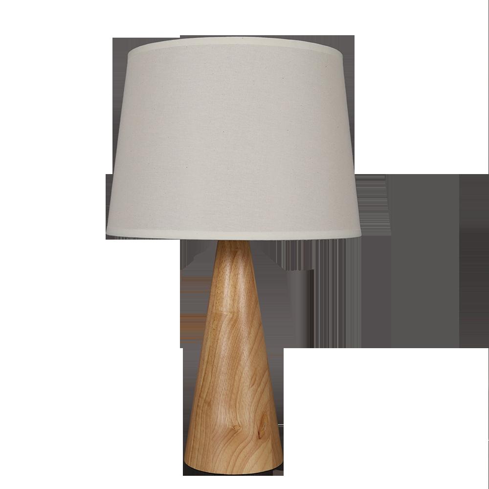 أباجورة طاولة موديل إيرث فايف قاعدة خشبية وغطاء من قماش الكتان