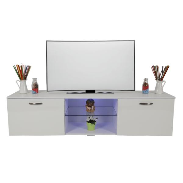 طاولة تلفاز موديل سيفدا إضاءة ليد مصنوعة من الخشب